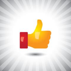 Concept vector- glossy orange, yellow social media like hand ico