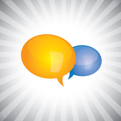 Concept vector- shiny, glossy chat symbols or speech bubble icon