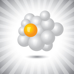 Concept vector- abstract white & yellow 3d chemical molecule str