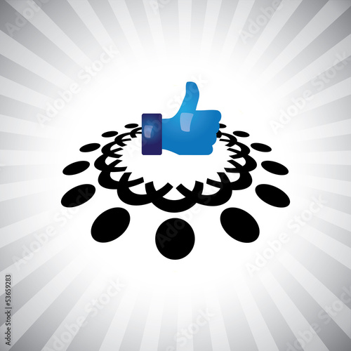 Concept vector- social media like hand icon(Symbol) & people