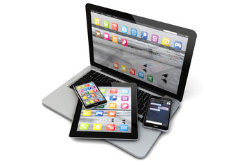 laptop, smartphones and tablet