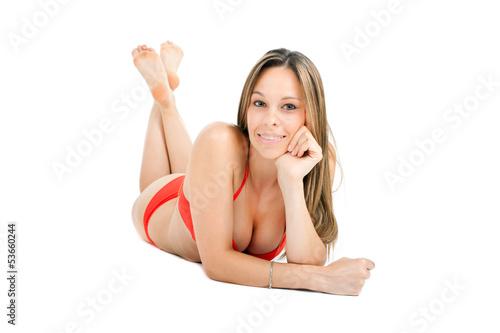 Woman in bikini isolated on white