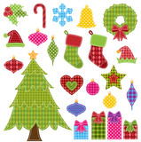 Vector Set of Patchwork Christmas Elements