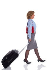 Female business woman with travel suitcase.