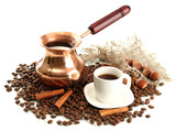 Cup and pot of coffee and coffee beans, isolated on white