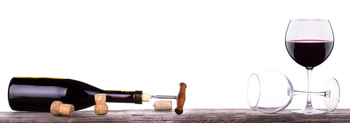 red wine and a bottle isolated