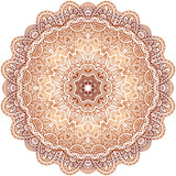 Ornate vintage beige vector doodle circle pattern
