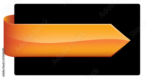 Orange Web Button (pin badge icon symbol blank template banner)