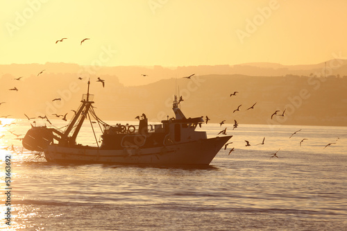 Fishing boat coming back home. Estepona, Costa del Sol, Spain