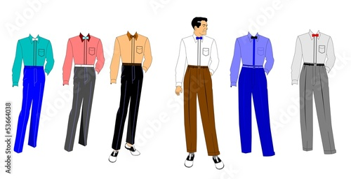 mens fashions set in retro style