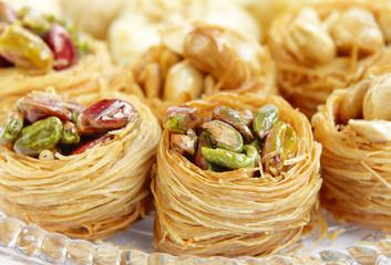 Closeup of birds nest baklava with pistachios