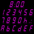 digital numbers purple - italic & reflect