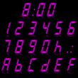 digital numbers purple - italic & reflect