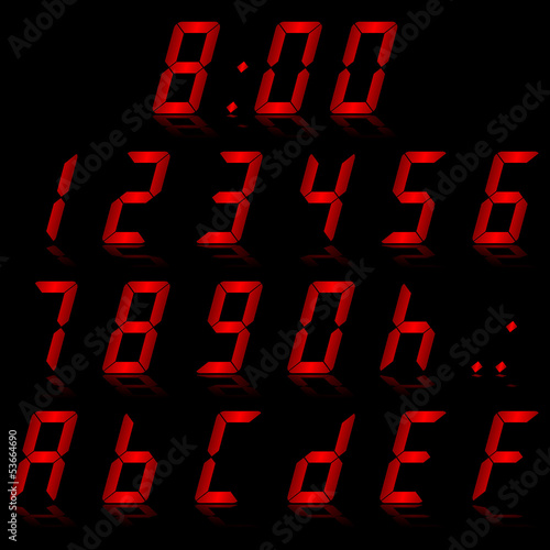 digital numbers red - italic & reflect