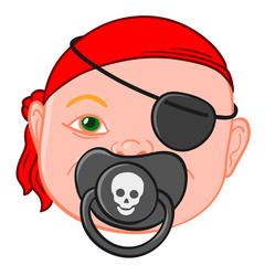 Baby head with pirate pacifier