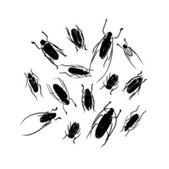 Sketch of funny colorful beetles for your design