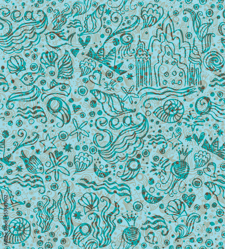 Seamless pattern of the marine world.