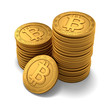 Small group of engraved golden Bitcoins on white