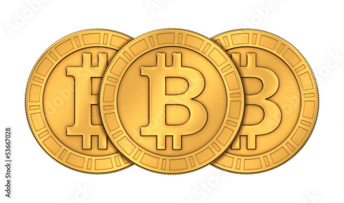 Frontal view of three 3D rendered paneled golden Bitcoins on whi