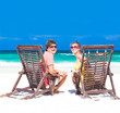 Couple on a tropical beach. Tulum, Mexico, Honeymoon concept