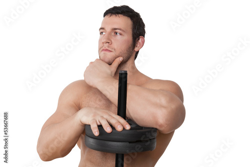 Attractive bodybuilder isolated, fitness background.