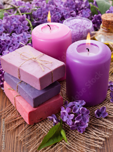 Handmade soap, candle and lilac - 53669677
