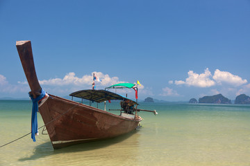 Longtail boat on the shore in Krabi, Thailand