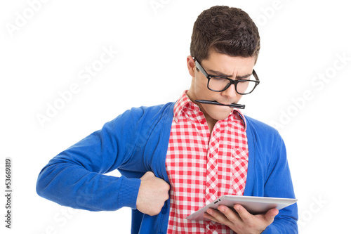 Nervous web designer with tablet pc