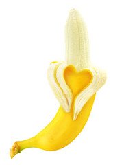 Ripe open banana with skin heart shape isolated on white