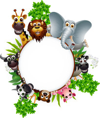 animal cartoon collection with blank sign and tropical plant
