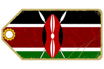 Vintage label with the flag of Kenya
