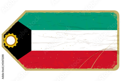 Vintage label with the flag of Kuwait