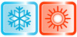 icons for conditioners topic - snowflake und sun