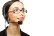 Closeup of female customer service representative smiling