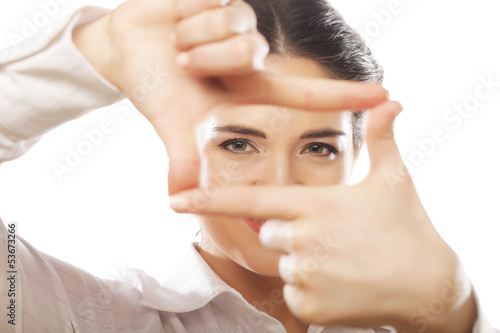 businesswoman make frame with fingers