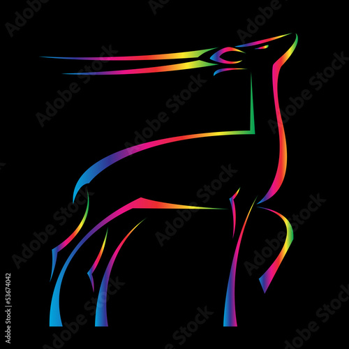 Vector image of an barking deer on black background
