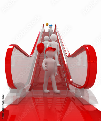 Escalator and 3d mans with colorfull balloons