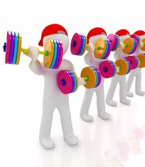 3d mans with colorfull dumbbells