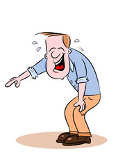 A cartoon guy bent over laughing and pointing