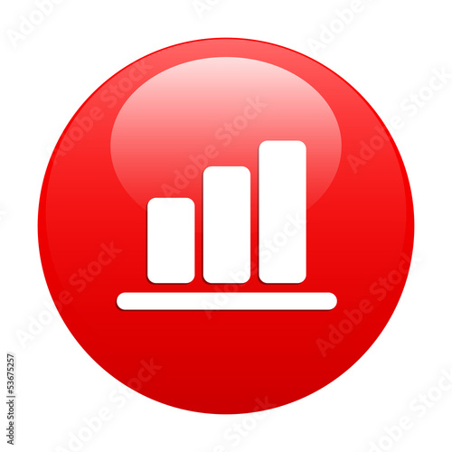 Bouton Internet graphic histogramme red