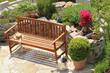 Sitzplatz mit Kräuterbeet, seat with herb bed