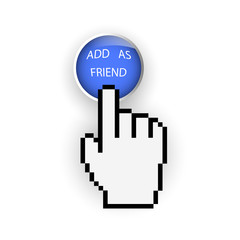 Blue button with Add as friend and hand cursor