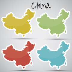 stickers in form of China