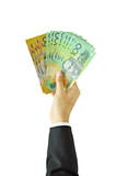 Businessman giving money - Australian dollars