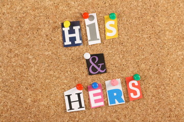 His and Hers on a cork board