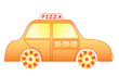 pizza delivery car over white