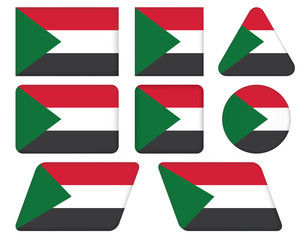 set of buttons with flag of Sudan