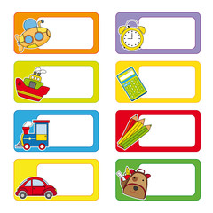 school labels. Stickers transport and objects for school