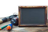 fishing gear and blackboard isolated