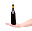 Bottle of beer on a hand